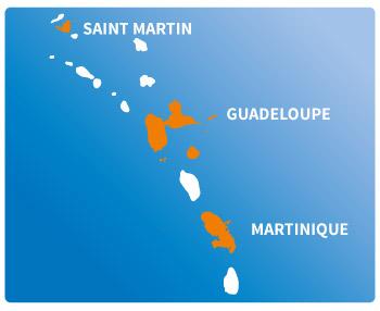 Voir nos agences de location de voitures et utilitaires en Guadeloupe, Martinique et à Saint-Martin
