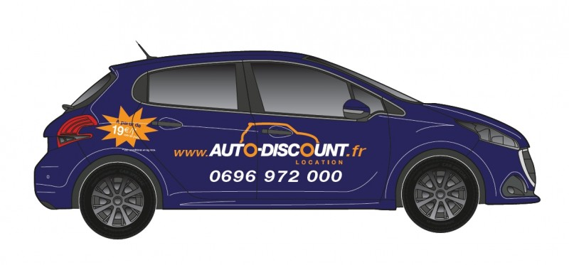Location voitures Guadeloupe Clio/208 (Publicitaire)